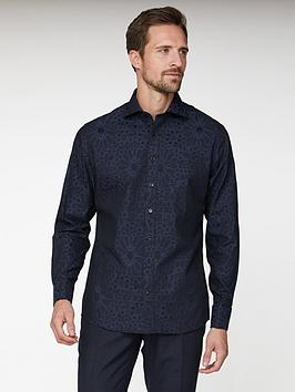 Jeff Banks Jeff Banks Large Floral Jacquard Tailored Fit Shirt - Black Picture