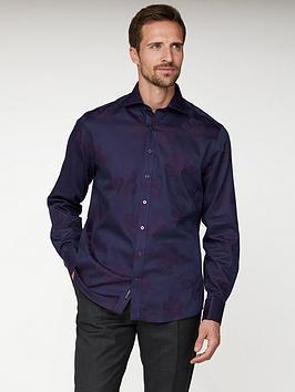Jeff Banks Jeff Banks Floral Jacquard Tailored Fit Shirt - Purple Picture