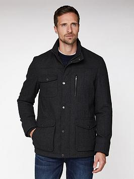 Jeff Banks Jeff Banks Jeff Banks Grey Wool Marl 4 Pocket Utility Jacket  ... Picture