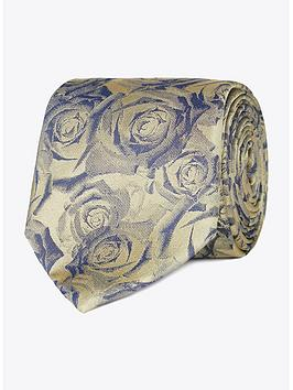 Jeff Banks Jeff Banks Jeff Banks Digital Roses Silk Tie - Gold Picture