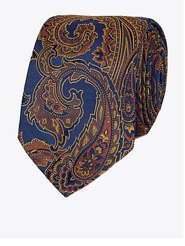 Jeff Banks Jeff Banks Jeff Banks Bold Paisley Silk Tie - Burnt Orange Picture