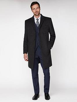Jeff Banks Jeff Banks Jeff Banks Grey Textured Overcoat Tailored Fit Picture