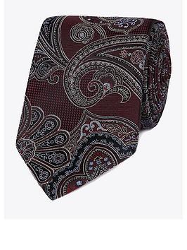 Jeff Banks Jeff Banks Jeff Banks Intricate Paisley Silk Tie - Wine Picture