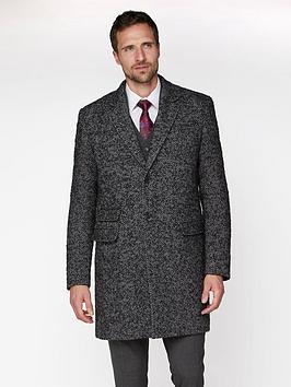 Jeff Banks Jeff Banks Chunky Wool Herringbone Overcoat - Grey Picture