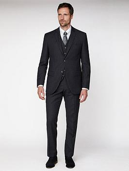Jeff Banks Jeff Banks Tonal Grid Texture Soho Suit Jacket - Charcoal Picture
