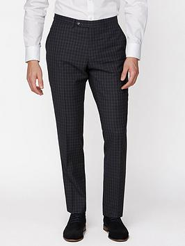 Jeff Banks   Tonal Grid Texture Soho Suit Trousers - Charcoal