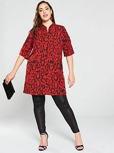 ax-paris-curve-animal-print-shirt-dress-red