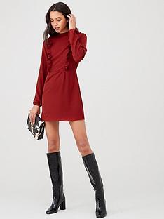 ax-paris-high-neck-ruffle-dress-red