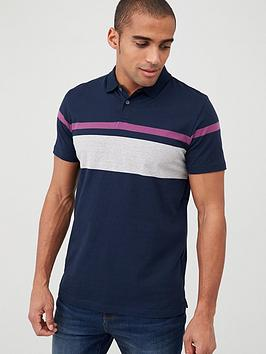 V by Very V By Very Placement Block Stripe Polo Shirt - Navy Picture