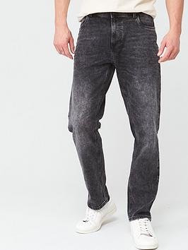 V by Very V By Very Straight Washed Jeans - Washed Black Picture
