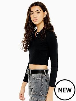 topshop-topshop-long-sleeve-button-front-polo-shirt-black