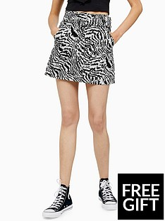 topshop-topshopnbspanimal-print-belted-skirt-monochrome