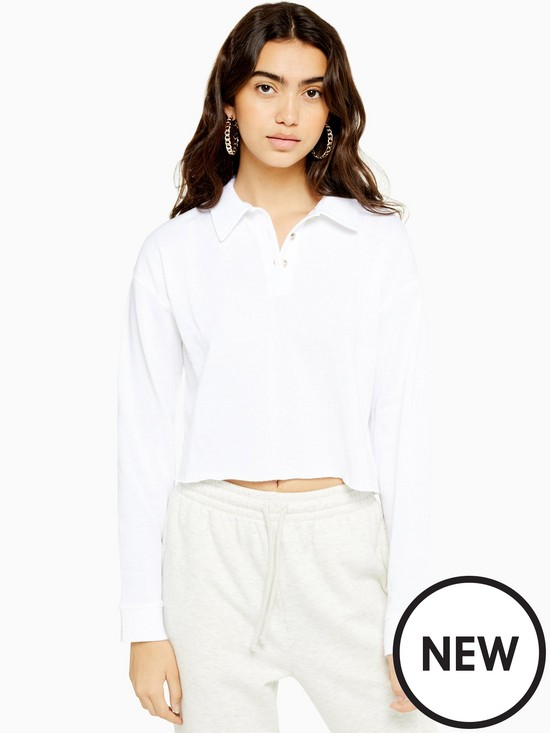 Topshop Long Sleeve Rugby Polo Shirt   White by Topshop