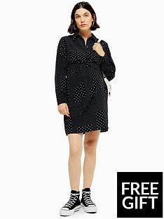 topshop-topshop-maternity-spot-tie-front-mini-dress-monochrome