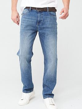 V by Very V By Very Belted Straight Jeans - Light Wash Picture