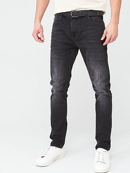 V by Very V By Very Belted Skinny Washed Jeans - Black Picture