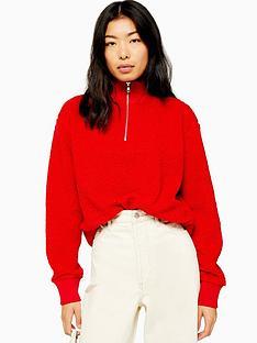 topshop-topshop-zip-up-funnel-sweatshirt-red