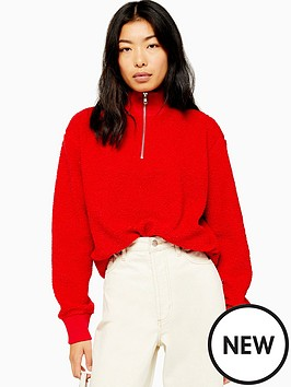 topshop-topshop-zip-up-funnel-sweatshirt-red