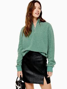 topshop-topshop-zip-up-funnel-sweatshirt-green