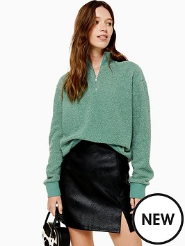 topshop-topshop-zip-up-funnel-sweatshirt-green