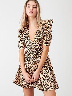 ax-paris-leopard-print-wrap-puff-sleeved-dress-beige