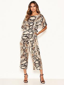 AX Paris Petite  Ax Paris Petite Snake Print Belted Jumpsuit - Stone