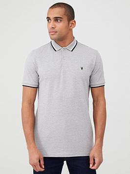 V by Very V By Very Tipped Pique Polo - Grey Picture