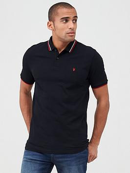 V by Very V By Very Tipped Pique Polo - Black Picture