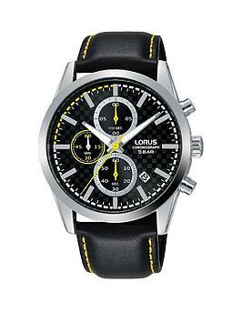 lorus-lorus-black-and-yellow-detail-chronograph-dial-black-leather-strap-mens-watch