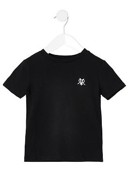 river-island-mini-mini-boys-rvr-embroidered-tshirt--black