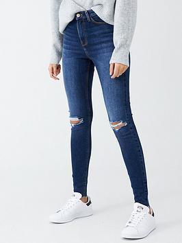 V by Very V By Very Ella High Waist Knee Rip Skinny Jean - Dark Wash Picture