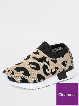 river-island-mini-mini-girls-leapord-knit-runner-trainer--brown