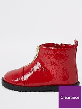 river-island-mini-mini-girls-patent-zip-front-boots--red