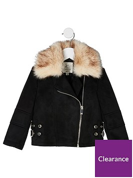 river-island-mini-mini-girls-suedette-aviator-jacket--black