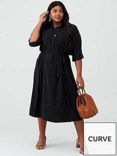 v-by-very-curve-crepe-pocket-shirt-dress-black