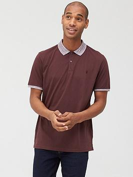 V by Very V By Very Jersey Polo With Marl Collar - Burgundy