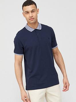 V by Very V By Very Jersey Polo With Marl Collar - Navy Picture