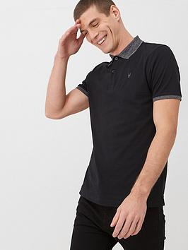 V by Very V By Very Marl Collar Jersey Polo Shirt - Black Picture