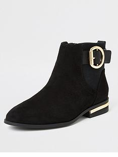 river-island-river-island-buckle-flat-ankle-boot-black