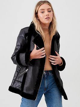 river-island-river-island-faux-fur-padded-aviator-jacket-black