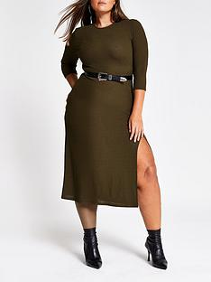 ri-plus-split-detail-midi-dress-khaki