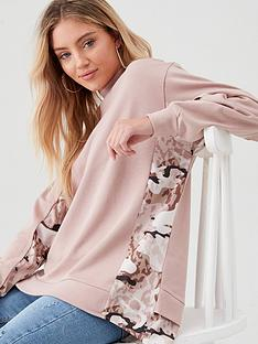 river-island-river-island-camo-blocked-high-neck-sweat-pink
