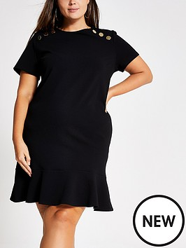 ri-plus-ri-plus-short-sleeved-button-detail-dress-black