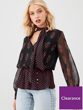 river-island-river-island-printed-pussybow-blouse-black