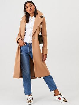 River Island River Island River Island Longline Turn Up Sleeve Coat-Camel Picture