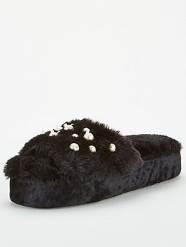 V by Very V By Very Pearl Embellished Slider Slippers - Black Picture