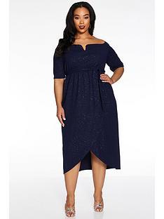 quiz-curve-v-bardot-wrap-midi-dress-navy