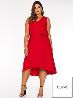 quiz-curve-quiz-curve-v-neck-overlay-dip-hem-midi-dress
