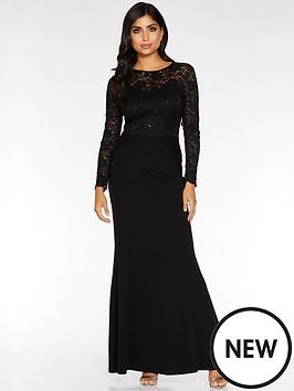quiz-quiz-sequin-lace-scallop-insert-long-sleeve-maxi-dress
