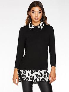 quiz-quiz-jersey-leopard-print-shirt-collar-hem-top